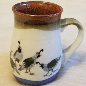 Stoneware Coffee Mug with Quail Vintage